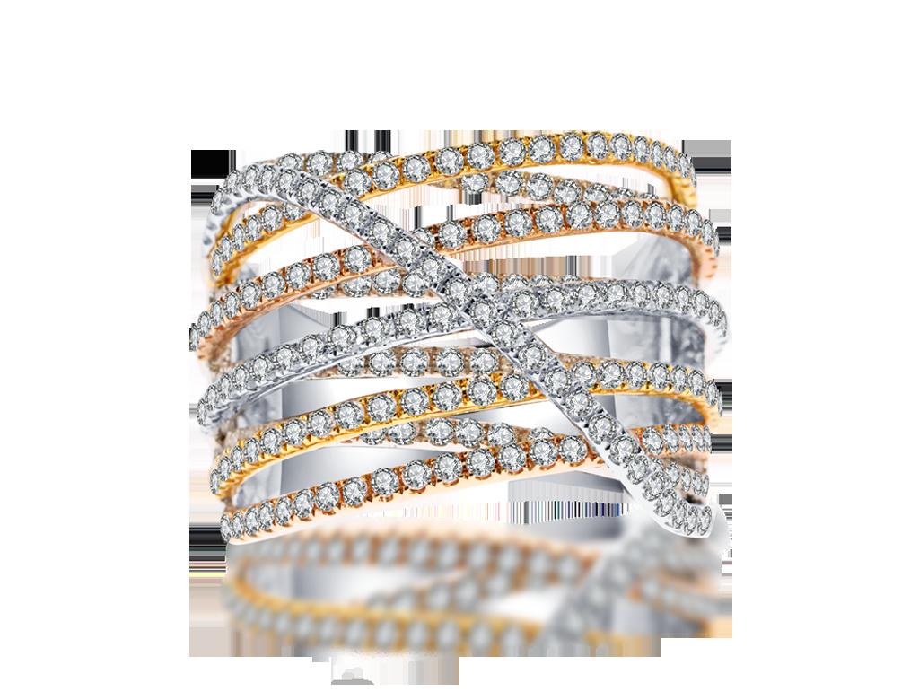 18K三色金鑽石戒指