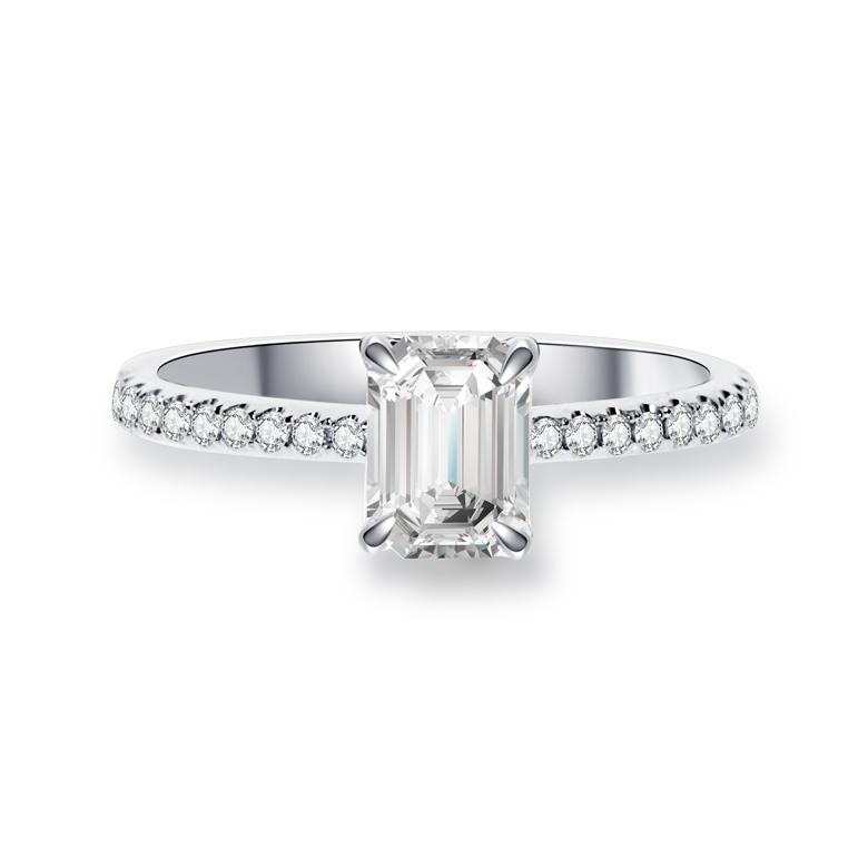 祖母綠形鑽石戒指托