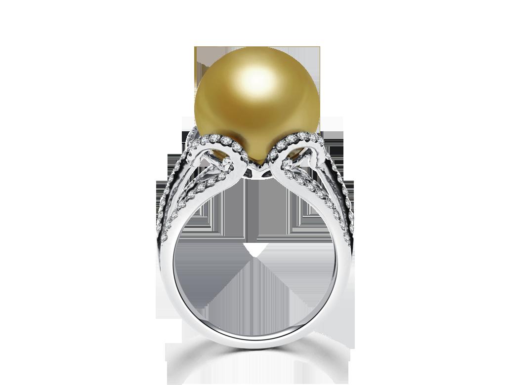 18K香檳金色珍珠鑽戒