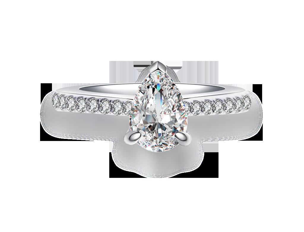 18K梨形鑽石戒指