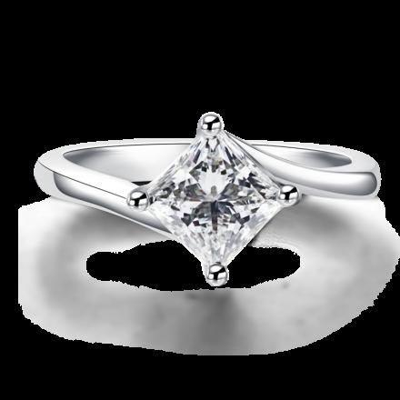 18K公主方鑽石戒指