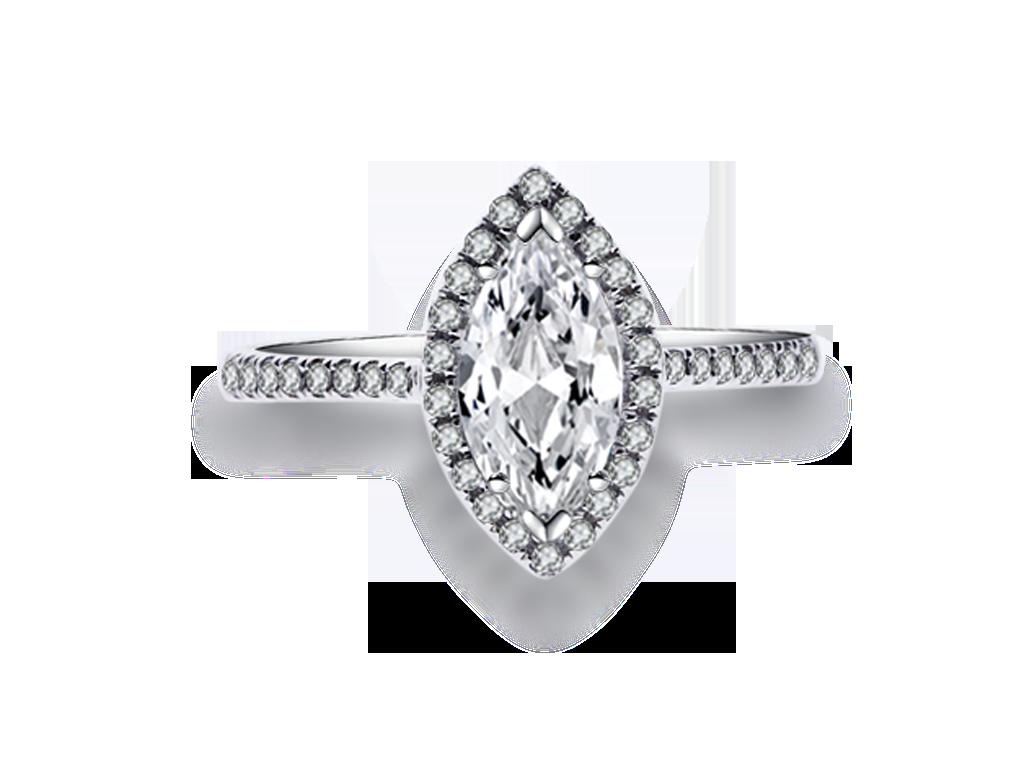 18K欖尖形鑽石戒指