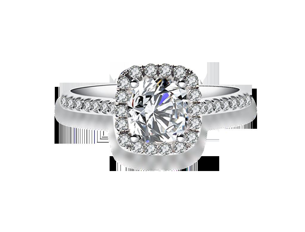 18K枕形鑽石戒指
