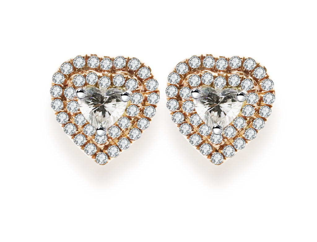 18K心形鑽石耳環