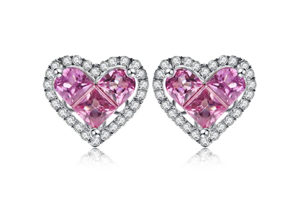 18K粉紅寶石耳環