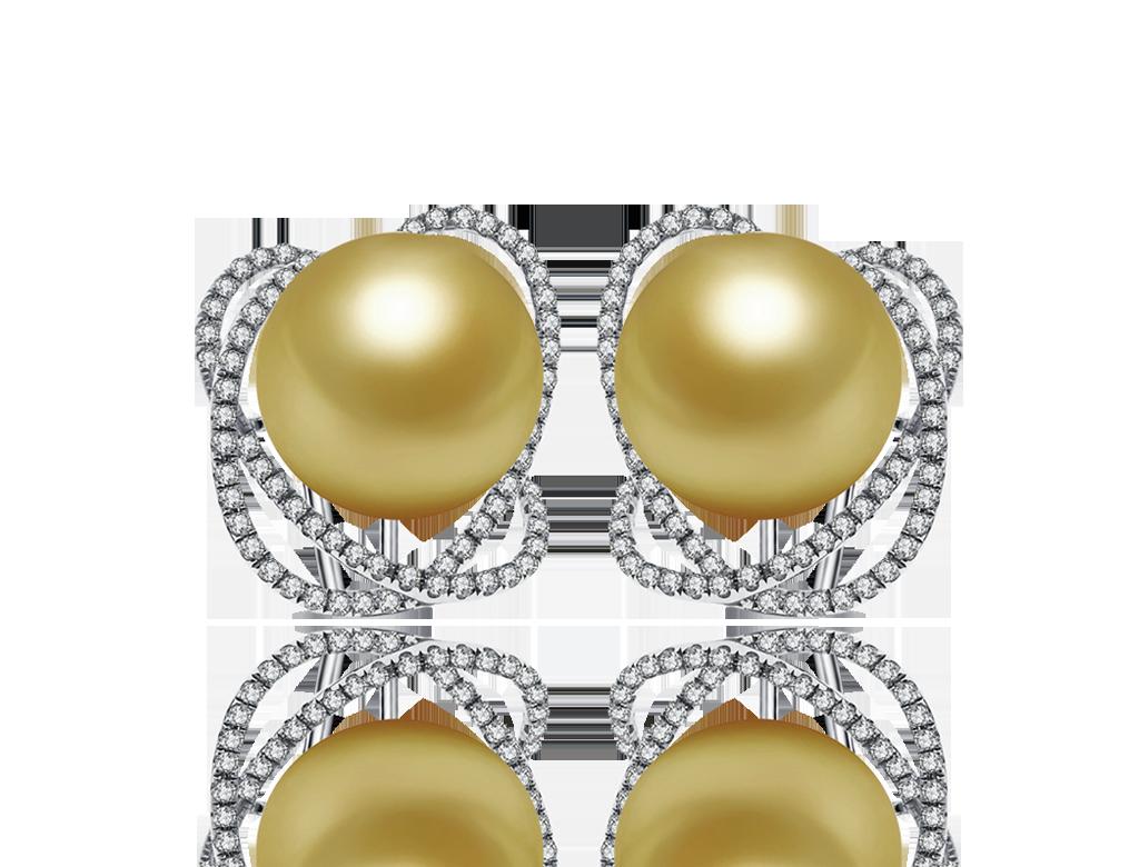18K金珠鑽石耳環