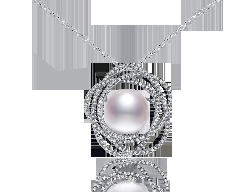 18K珍珠鑽石吊咀