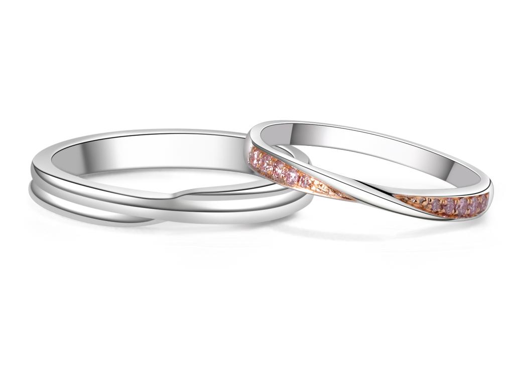 18K粉紅鑽結婚對戒