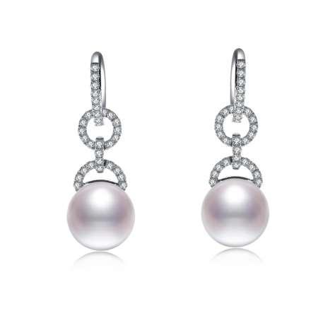 18K珍珠鑽石耳環