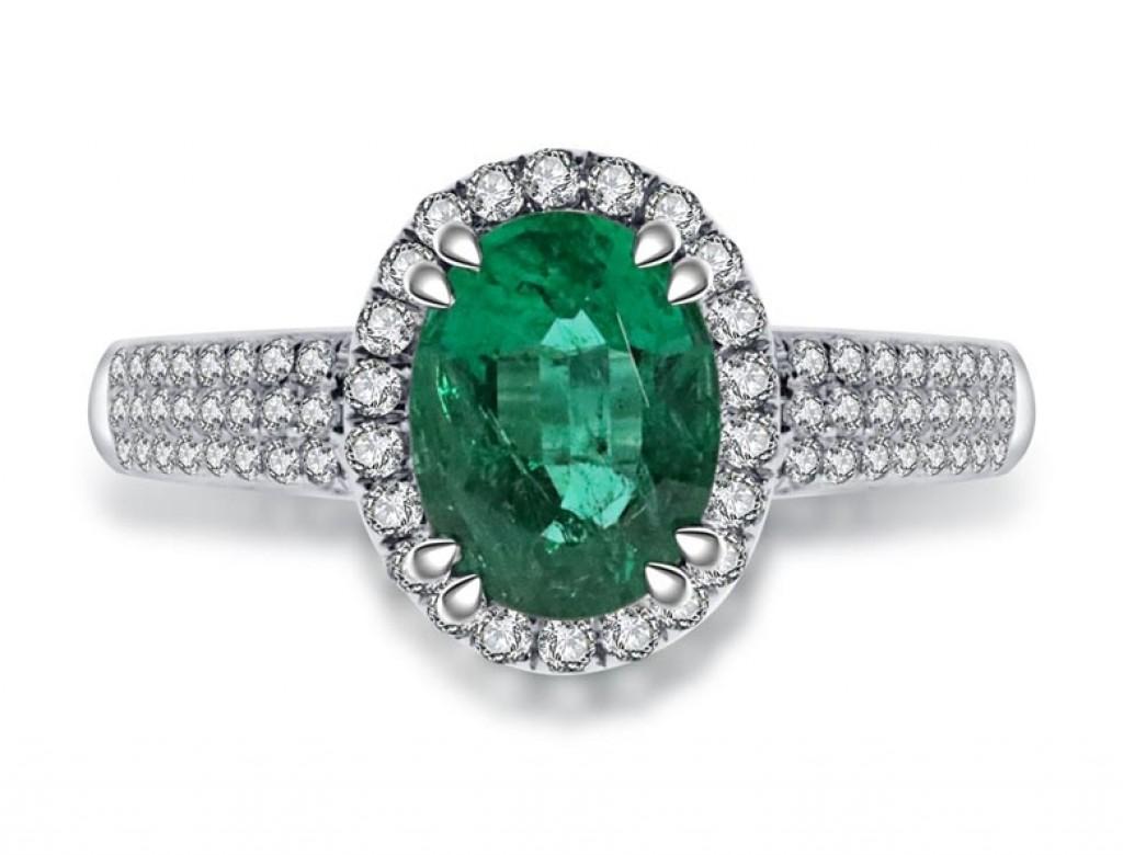 18K綠寶鑽石戒指