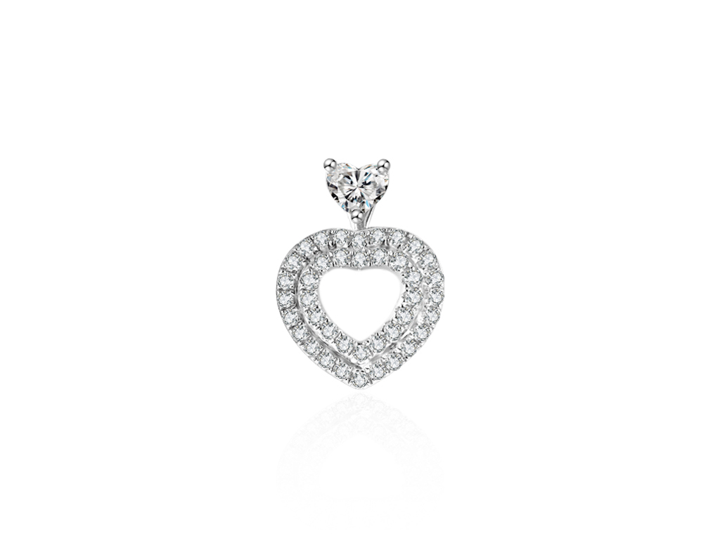 18K三戴心形鑽石耳環
