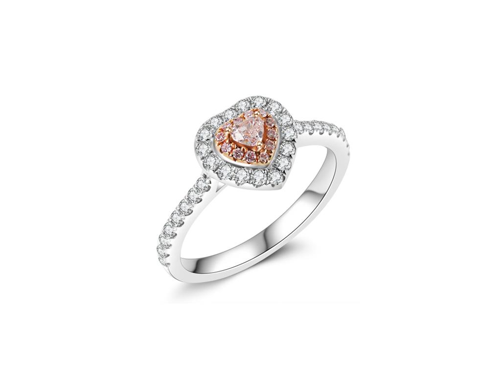 18K心型粉紅鑽戒指