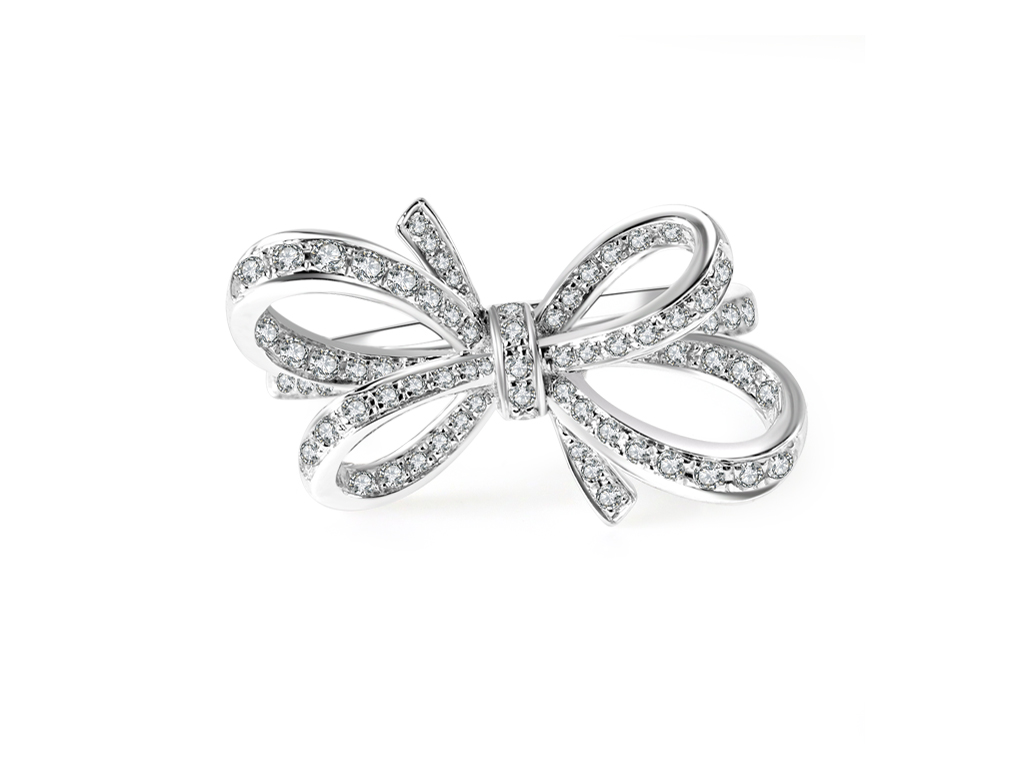 18K蝴蝶結鑽石戒指