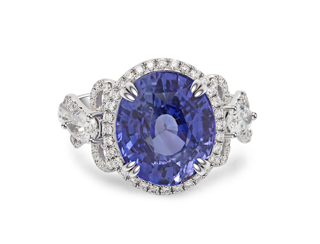 18K藍寶鑽石戒指