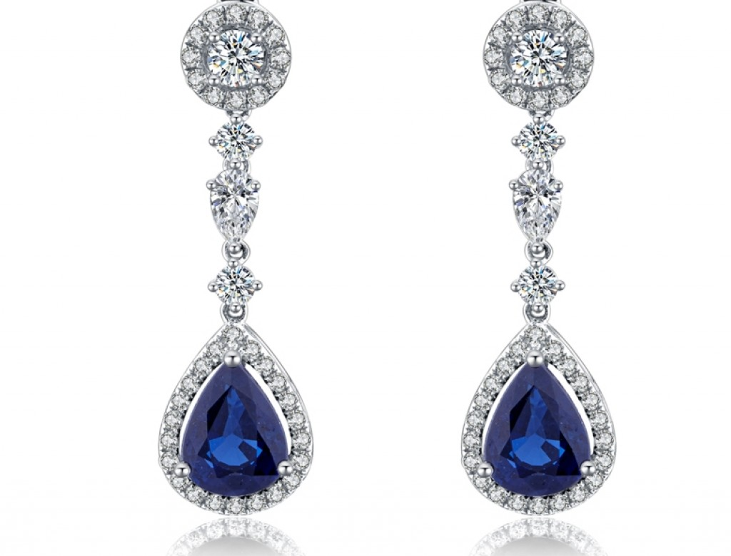 18K藍寶石耳環