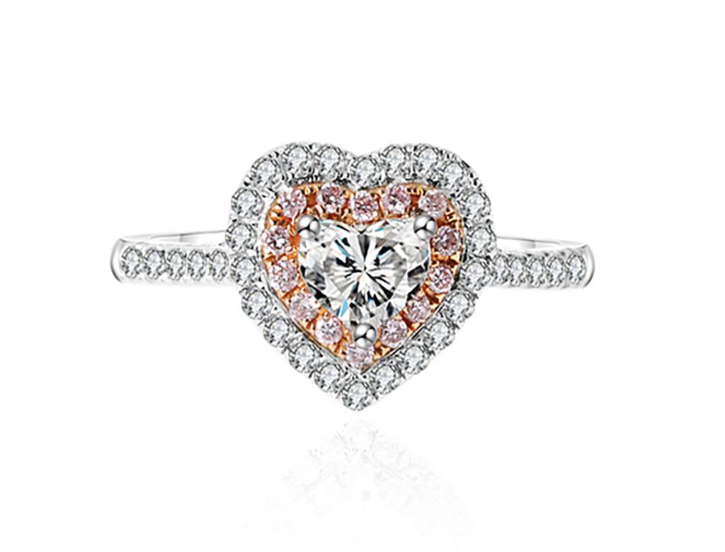 18K心型鑽石戒指