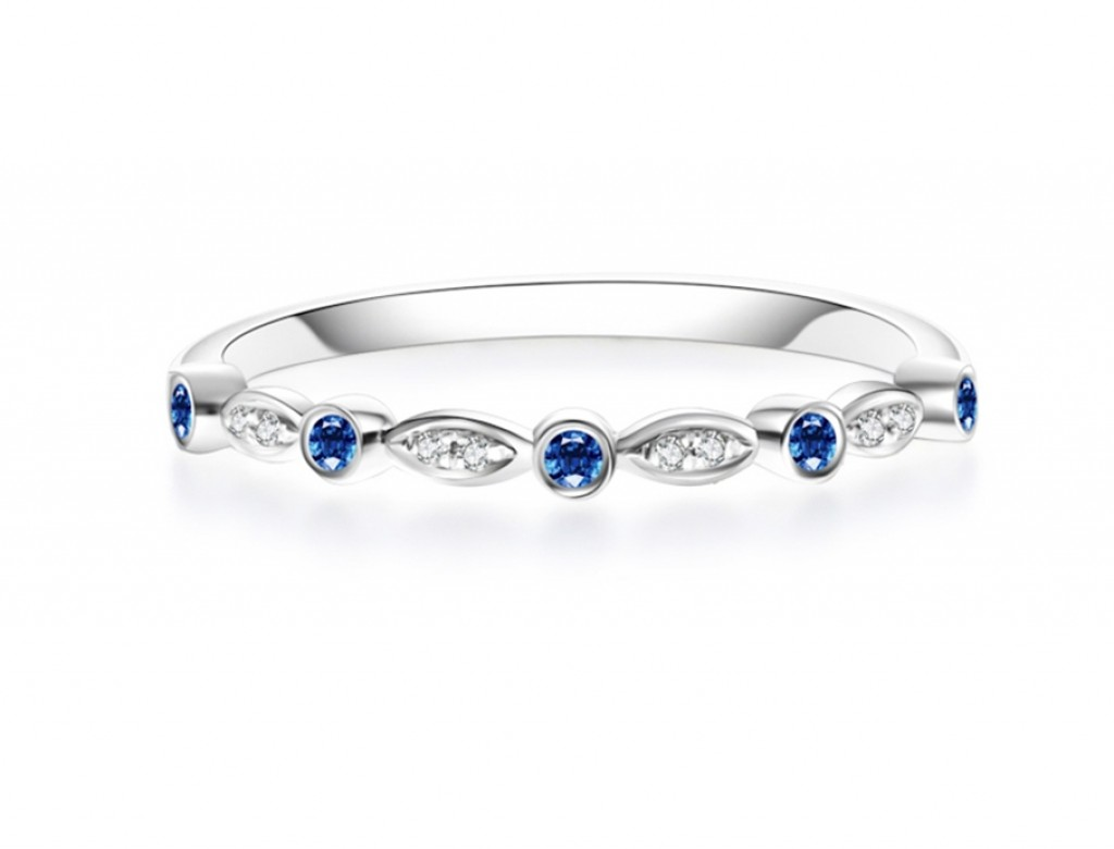 18K藍寶鑽石排戒